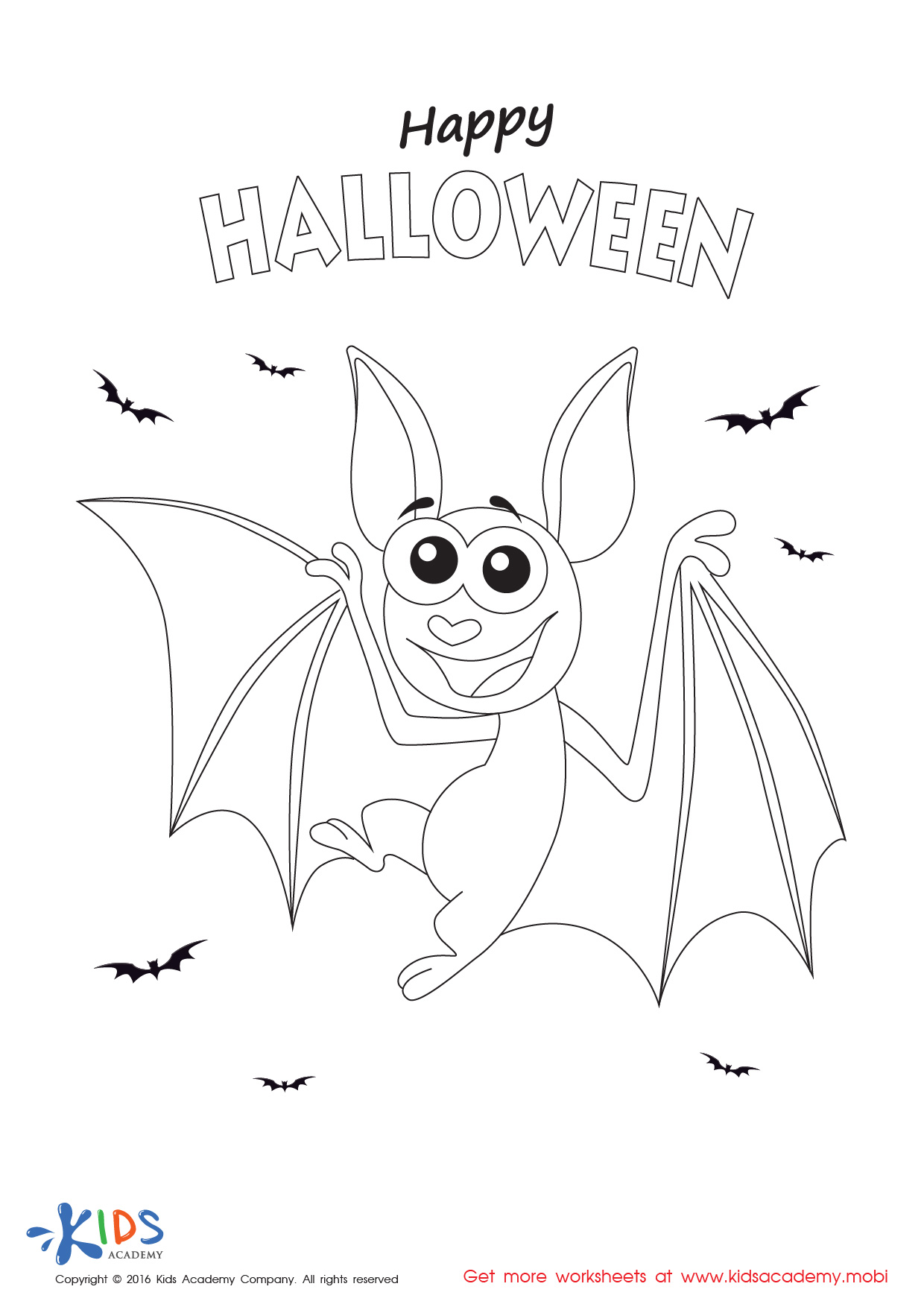 Halloween Coloring Page: A Bat