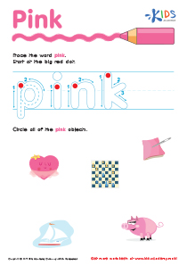 Handwriting PDF Worksheets | Tracing Color Words | Pink