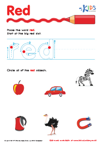 Handwriting PDF Worksheets | Tracing Color Words | Red