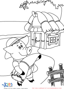 Fairy Tales PDF Worksheets: The Three Little Pigs Coloring