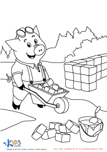 Books For Kids: The Three Little Pigs Coloring PDF Worksheet