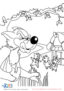 The Story of the Three Little Pigs Coloring PDF Worksheet