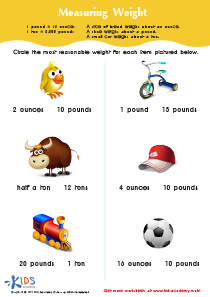 Math PDF Worksheet: Measuring Weight in Ounces, Pounds and Tons