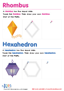 Worksheets Drawing Rhombus Worksheet draw 4 sided shapes geometry worksheets kids academy geometric for a rhombus and hexahedron pdf