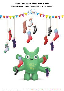 Math Game: Sort the Monster's Socks