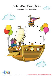 Connect Dots Worksheet: Pirate Ship