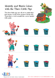 Fairy Tale Worksheet: Identify and Match Colors with Three Little Pigs