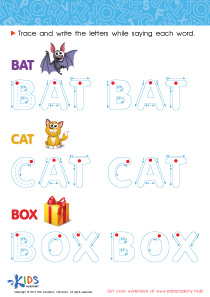 Spelling PDF Worksheets: A Bat, a Cat and a Box