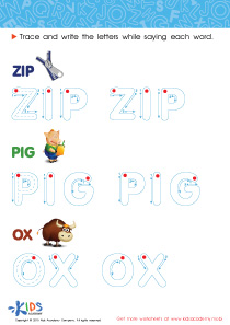 Spelling PDF Worksheets: A Zip, a Pig and an Ox